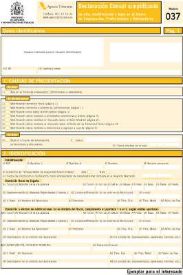 modelo 037 Hacienda instrucciones