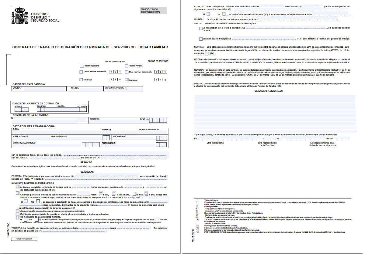 contrato duracion determinada empleada hogar 2015 modelo PE-172